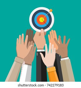 Hand of businessman hold target with arrow. Goal setting. Smart goal. Business target concept. Achievement and success. Vector illustration in flat style