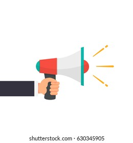 Hand of businessman Holding the bullhorn or Megaphone with announce word flat style vector illustration