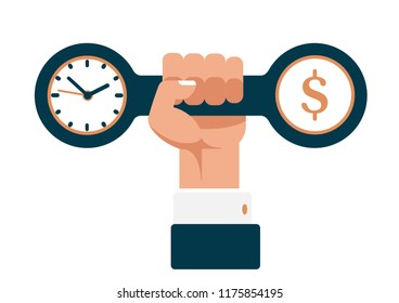 hand of a businessman holding a dumbbell with clock and dollar. time is money. business training. Concept flat vector illustration