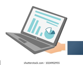 Hand of businessman holding a laptop with financial chart and diagram on the screen vector cartoon illustration isolated on white background.