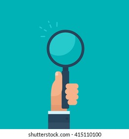 Hand of a businessman, holding a magnifying glass, on a flat blue background. Flat vector illustration.
