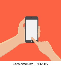 hand of businessman holding phone and touch phone ,business concept,flat design,vector eps10
