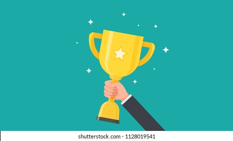 Hand of businessman holding trophy cup and showing an award vector illustration