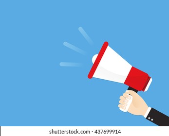 hand of businessman or manager announce by megaphone. advertising through loudspeaker