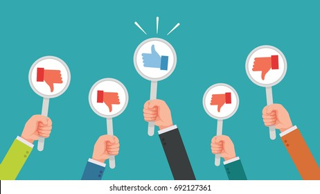 Hand of businessman, many hands with dislike or disagree but get one thumbs up feedback vector illustration