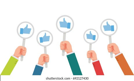 hand of businessman, many hands with thumbs up feedback vector illustration