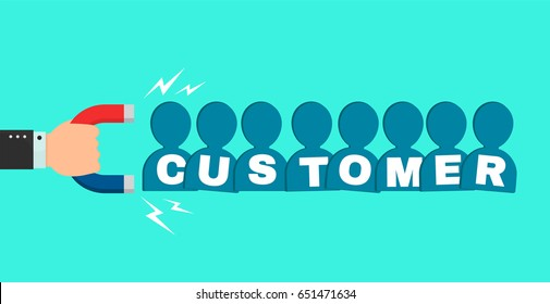 Hand of a businessman with marketing magnet attracts new customer buyers people sign. Vector flat cartoon illustration icon design. Successful business, customer magnet, marketing,crowd power concept