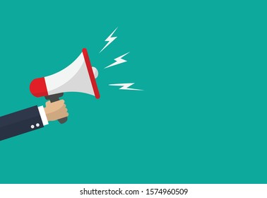 Hand businessman megaphone with copy space on blue background. Advertising through speakers. Vector illustration in flat design.