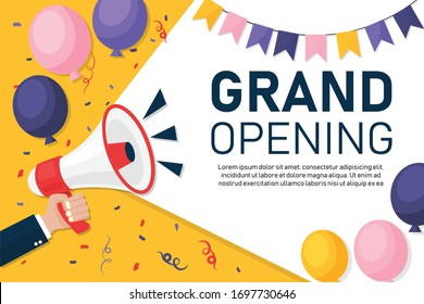 Hand businessman megaphone with copy space background. grand opening marketing or banner template with fun balloons. Advertising through speakers. Vector illustration flat design.