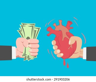 Hand of businessman with money buying a Heart from another businessman on blue background vector