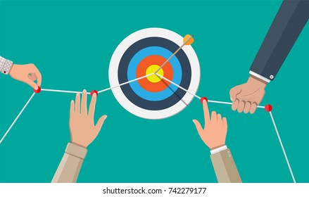 Hand of businessman pointing to the arrow from target. Goal setting. Smart goal. Business target concept. Achievement and success. Vector illustration in flat style