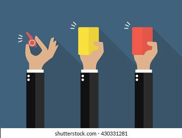 Hand of businessman showing a whistle, yellow card and red card. Vector illustration
