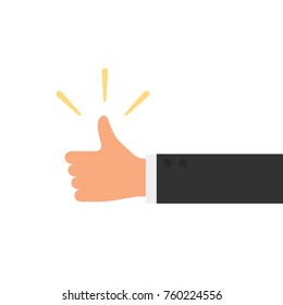 hand of businessman with thumb up feedback vector illustration
