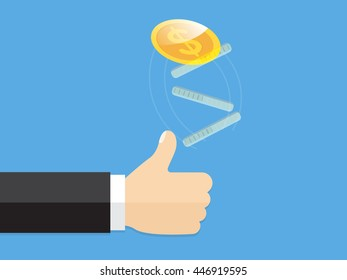 hand of businessman tosses a gold coin. guessing game heads or tails