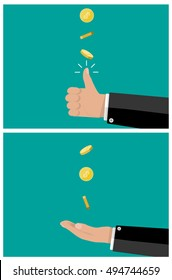 hand of businessman tossing and catches a coin. vector illustration in flat style