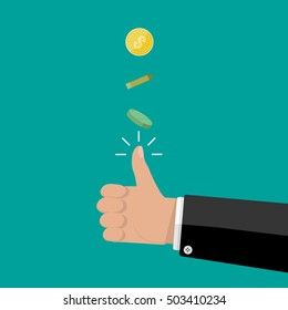 hand of businessman tossing a coin. vector illustration in flat style