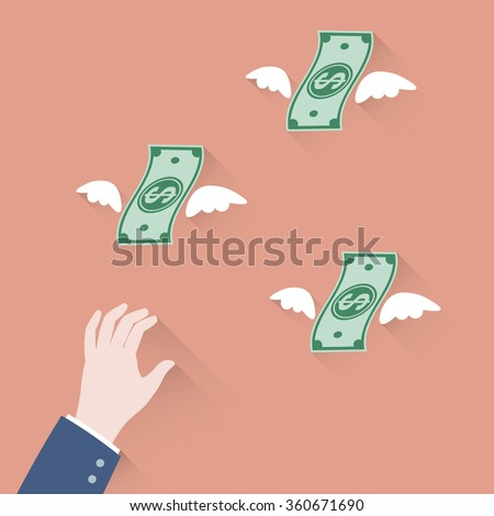 Hand Businessman Trying Grab Money Flying Stock Vector (Royalty Free