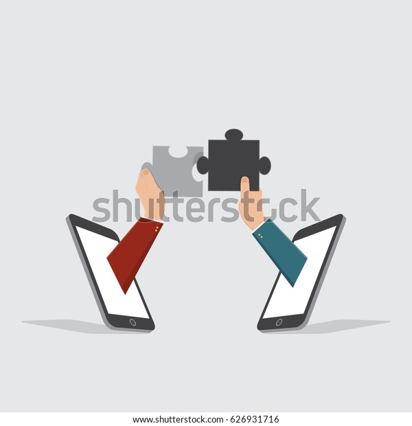 hand businessman using jigsaw, teamwork online business concept