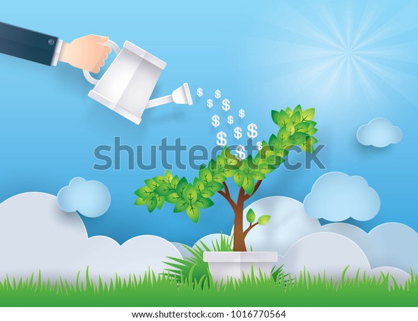 Hand Businessman Watering Plant Pot Shaped Stock Vector