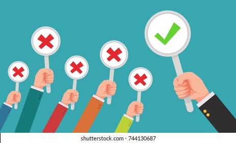 hand of businessman,many hands with cross wrong mark but get one correct mark feedback from the boss or customer - complaining to businessman concepts flat style vector illustration