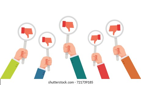 hand of businessman,many hands with disagree or dislike sign feedback vector illustration