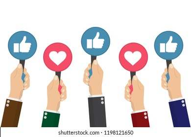 Hand of businessman,many hands with thumbs up feedback. Vector illustration.