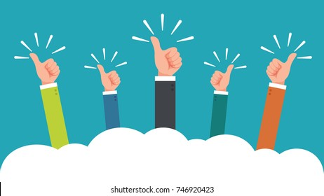 hand of businessman,many hands with thumbs up feedback through the clouds vector illustration