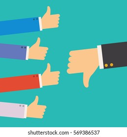 hand of businessman,many hands with thumbs up but get one dislike feedback from the boss or customer - complaining to businessman concepts flat style vector illustration