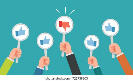hand of businessman,many hands with thumbs up but get one disagree or dislike feedback  vector illustration