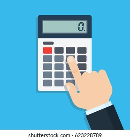 Hand with calculator, flat design, vector illustration