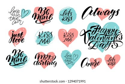Hand calligraphy lettering big Valentine day set with pink and blue hearts, spots.