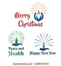 Hand candle dove light christmas logo vector design