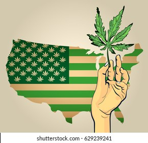 Hand with cannabis leaf hand drawn, Usa flag green colored. Vector design template