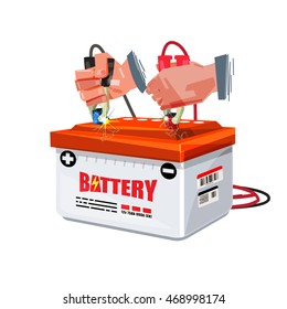 Hand of car mechanic uses battery jumper to charge a  battery - vector illustration