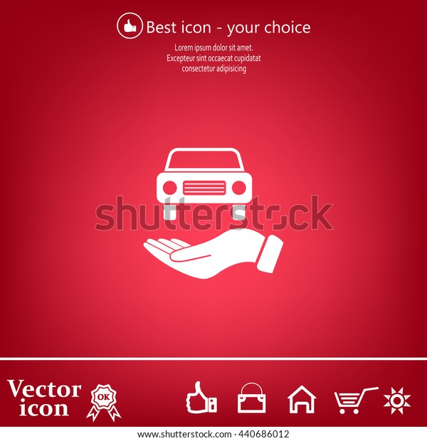 Hand with car vector icon