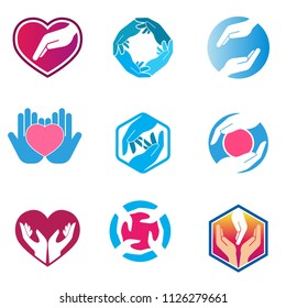 Hand care charity logo emblem design template. Social foundation for human welfare vector illustration