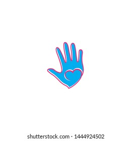 Hand care logo design template vector icon illustration