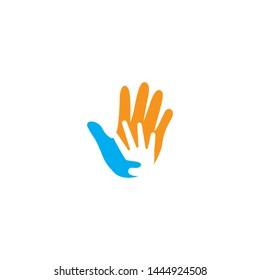 Hand care logo design template vector icon illustration