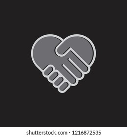 hand care and love 3d design logo vector