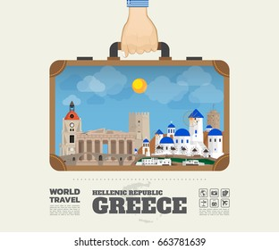 Hand carrying Greece Landmark Global Travel And Journey Infographic Bag. Vector Design Template.vector/illustration.