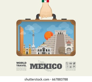 Hand carrying Mexico Landmark Global Travel And Journey Infographic Bag. Vector Design Template.vector/illustration.