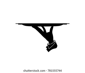 Hand Carrying Tray on the Restaurant, Cafe or Bar - Waiter Hand Illustration Symbol Logo Vector