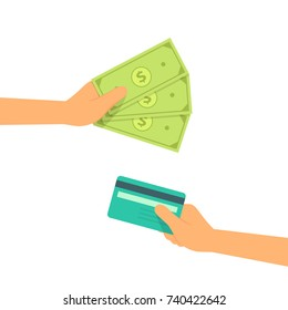 hand with cash and credit card payment concepts vector illustration flat style
