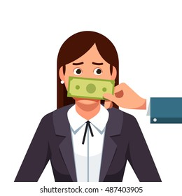 Hand with cash dollar money banknote covering politician or business woman mouth buying silence telling her to shut up. Lobbyist corruption concept. Flat style vector illustration isolated on white.