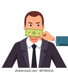 Hand with cash money dollar banknote covering politician or business man mouth buying silence telling him to shut up. Lobbyist corruption concept. Flat style vector illustration.