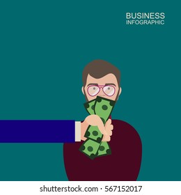 Hand with cash money dollar banknote covering business man mouth buying silence telling him to shut up. Lobbyist corruption concept. Flat style vector illustration.