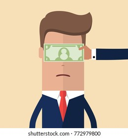 Hand with cash money dollar banknote covering the eyes of a businessman. Bribery concept. Vector illustration