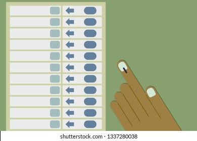 Hand casting vote in Electronic voting machine.