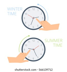 The hand change time on the watch to wintertime and summertime. Concept flat illustration of human turning clock hands backward and forward. Vector design element for presentation, web, infographic.