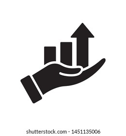 Hand with chart icon in trendy flat style design. Vector graphic illustration. Suitable for website design, logo, app, and ui. EPS 10.
